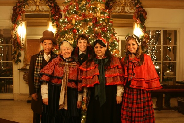 Our costumed caroling group!